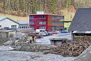 Blick auf das Gelände der Fensterbauerin Gawo Gasser AG in Schüpfheim nach dem Hochwasser 2016. (Bild: LZ)