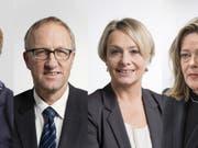 Drei Frauen und ein Mann wollen Bundesrätin Doris Leuthard beerben: Viola Amherd, Peter Hegglin, Elisabeth Schneider-Schneiter und Heidi Z'graggen. (Bild: Keystone/GAETAN BALLY / URS FLUEELER)