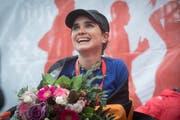 Franziska Inauen freut sich nach ihrem Sieg beim Swiss City Marathon 2017. (Bild: LZ Boris Bürgisser (Luzern, 29. Oktober 2017))