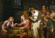 Konradin von Schwaben und Friedrich von Österreich spielen Schach, als ihnen das Todesurteil verkündet wird. Bild: Historienbild von Johann Tischbein; Original im Bestand des Schlossmuseums Gotha.