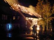 Bei einem Scheunenbrand in Wuppenau sind zwei Menschen verletzt worden. Der entstandene Sachschaden wird auf mehrere 100'000 Franken beziffert. (Bild: Kantonspolizei Thurgau)