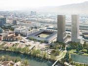 So könnte das zukünftige Fussballstadion auf dem Hardturm-Areal in Zürich aussehen. Am 25. November entscheiden die Stadtzürcher darüber an der Urne. (Bild: KEYSTONE/HRS REAL ESTATE AG/NIGHTNURSE IMAGES GMBH)