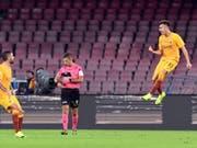 Romas Stephan El Shaarawy jubelt über seinen frühen Treffer zum 1:0 (Bild: KEYSTONE/EPA ANSA/CIRO FUSCO)
