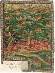 Die frei gestaltete Kirchturmlandschaft des Appenzellerlandes in einer Miniatur von Jakob Girtanner (1527–1600), datiert 1586. Im Vordergrund Appenzell, der Hauptort des damals noch ungeteilten Landes, oben rechts Herisau. (Bild: Landesarchiv Appenzell Innerrhoden, Appenzell)