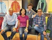 Sie leiten die Geschicke der Firma Imholz Sport in Bürglen; von links: Hansueli Imholz, Monika von-Euw-Imholz, Thomas Imholz und Josef Imholz. (Bild: Josef Mulle, Bürglen, Oktober 2018)
