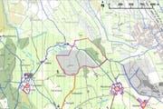 Neuer Perimeter für den Abbau von Kies (rote Umrandung).
