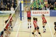 Beim Auftritt von Volley Toggenburg am Sonntagnachmittag hat es an der Abstimmung gefehlt. (Bild: Reinhard Kolb)