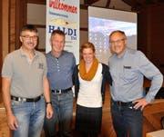 Sie waren die Hauptpersonen der diesjährigen GV der Haldifreunde; von links: Werner Arnold, Beat Arnold, Jolanda Annen und Hans Müller. (Bild: Josef Mulle, Haldi, 24. Oktober 2018)