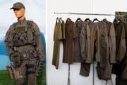 Provisorische Exemplare der zukünftigen Kampfkleidung der Schweizer Armee. (Bild: Jean-Christophe Bott/Keystone (Bure, 16. Juni 2018))