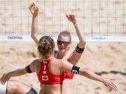 Das Duo Nicole Eiholzer (rechts) und Elena Steinemann (links) wird es in Zukunft auf Sand nicht mehr geben (Bild: Urs Flueeler/Keystone)