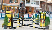 Peter Gschwend springt mit dem bald 20-jährigen Pferd Archimedes zum Sieg. (Bild: www.sportfoto-mo.com)