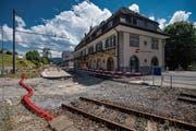 Der Umbau mitsamt dem Gleisausbau beim Bahnhof Teufen soll im Frühjahr erfolgen. (Bild: Benjamin Manser)