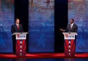 Der Republikaner Ron DeSantis (links) und der Demokrat Andrew Gillum während einer Debatte. (Bild: Wilfredo Lee/AP (Davie, 24. Oktober 2018))