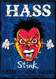 So wirbt die legendäre Punkband Hass für ihr Konzert im Sedel, inklusive Statement gegen den Rechtsradikalismus. (Bild: PD)