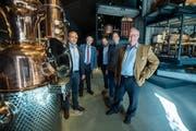 Die Familie Möhl im Schweizer Mosterei- und Brennereimuseum: Georges, Ernst, Christoph, Lukas und Markus Möhl. (Bilder: Reto Martin)