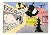 Gefährliche Lust auf den Sieg: Die Dame schlagen, hiesse Schachmatt (Postkarte von Martin Zimmermann). Bilder aus dem besprochenen Band
