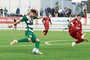 Da war die SCK-Welt noch in Ordnung: Stürmer Admir Seferagic schiesst das 1:0. (Bild: Jakob Ineichen (Kriens, 6. Oktober 2018))