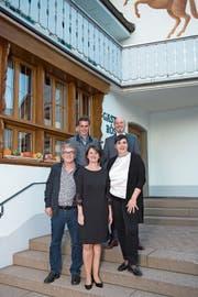 Der neue Gemeinderat (von links): Hans Staub, Markus Amhof, Esther Rüttimann, Christoph Zumbühl, Carina Brüngger. (Bild: Maria Schmid (Steinhausen, 7. Oktober 2018))