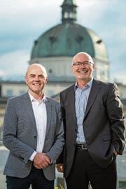 Andreas Etter (CVP, links) und der Parteilose Herbert Keiser gehören zu den Wahlsiegern in Menzingen. (Bild: Christian Hildebrand (7. Oktober 2018))