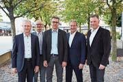 Alter und neuer Gemeinderat (von links): Ruedi Knüsel (FDP), Franz Zoppi (SVP), Gemeindepräsident Peter Hausherr (CVP), Roland Zerr (FDP) und Markus Scheidegger (CVP). (Bild: Jakob Ineichen (Rotkreuz, 7. Oktober 2018))