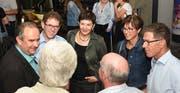Filmemacher Daniel Felix (links) mit den Regierungsräten Jakob Stark und Monika Knill. (Bild: PD)