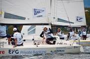 Der Segelclub Tribschenhorn (vorne) und der Yachtclub Tivoli im direkten Vergleich beim Final der Segelliga vor Versoix. (Bild: Claudia Somm (Versoix, 6. Oktober 2018)