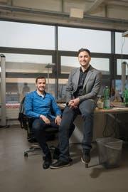 Christian Naef, links, und Iman Nahvi der IT-Firma Advertima in St.Gallen. (Bild: Benjamin Manser / Tagblatt)