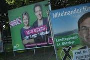 Plakate der Grünen für die die Landtagswahl am 14. Oktober. Bild: Sean Gallup/Getty (Simbach am Inn, 21. September 2018)