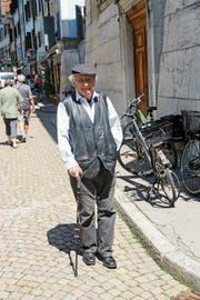 Immer mit einem Lächeln unterwegs: Peter Bichsel. (Bild: Niklaus Stauss/Keystone (Solothurn, 28. Mai 2018))