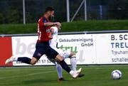 Hatte Ladehemmungen wie viele seiner Mitspieler auch: Cham-Stürmer Célien Wicht. (Bild: Werner Schelbert, 19. September 2018)