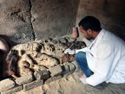 In einer Nekropole haben Archäologen in Ägypten mehr als 3000 Jahre alte Katzenmumien entdeckt. (Bild: KEYSTONE/EPA/KHALED ELFIQI)