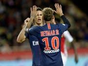 Die Superstars jubeln: Neymar und Cavani nach dem vierten PSG-Tor gegen Monaco (Bild: KEYSTONE/AP/CLAUDE PARIS)