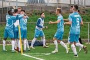 Die Zuger freuen sich über das 1:0 gegen den FC Biel. (Bild: Patrick Hürlimann (Zug, 10. November 2018))