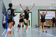 Die Spielerinnen freuen sich über die gewonnenen Punkte.(Bild: Maria Schmid ( Steinhausen, 10. November 2018 ))