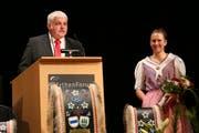Der ehemalige Kranzschwinger und heutige Schwyzer Regierungsrat Othmar Reichmuth (CVP) hielt die Festansprache. (Bild Reto Betschart (Schwyz, 10. November 2018))