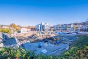 Grossbaustelle in St.Fiden: Hier entsteht die Überbauung «Vier Winkel» mit Hotel. (Bild: Urs Bucher)