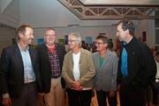 Die Teilnehmer des Podiums von links: Benno Büeler, Markus Limacher, Ingrid Grave, Silvia Brändle und Thomas Wallimann. (Bild: Marion Wannemacher (Stansstad, 9. November 2018))