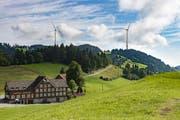 Angedachte Windanlage in Oberegg von der Landmark her gesehen. Fotomontage: PD