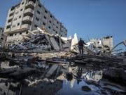 Zerstörtes Gebäude am Dienstag in Gaza City nach einem israelischen Luftangriff. (Bild: Keystone/EPA/MOHAMMED SABER)
