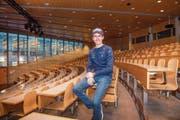 Simon Ammann, Pendler zwischen Schanze und Auditorium: «Ich ziehe viel Ruhe aus dem Lernen.» (Bild: Urs Bucher)
