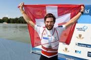 Der 30-jährige Luzerner Michael Schmid vom Seeclub Luzern nach seinem Sieg an der Ruder-EM in Glasgow. Er holte für die Schweiz Gold. (Bild Archiv)