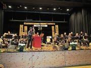 In Trübbach feierten die 2-Länder Musikanten mit einem tollen Konzert ihr 25-Jahr-Jubiläum. Hans Köppel führte witzig durchs Programm und griff auch zum Bass. (Bild: Pius Bamert)