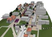 So könnte die Kantonsstrasse im Ebikoner Dorfzentrum dereinst verschwinden. (Visualisierung: PD)