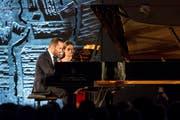Der Pianist Igor Levit beim Eröffnungskonzert von Andermatt Swiss Alps Classics am Sonntag, 25. Juni 2017, in Andermatt. (Keystone/Alexandra Wey)