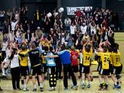 Erster Saisonsieg in der 9. Runde: Fortitudo Gossau hatte wieder einmal Grund zum Jubeln (Bild: KEYSTONE/GEORGIOS KEFALAS)