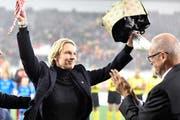 Martina Voss-Tecklenburg wird als Nati-Trainerin verabschiedet. (Bild: Marcel Bieri / Keystone (Schaffhausen, 13. November 2018))