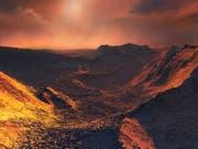 So könnte es auf der neu entdeckten Supererde aussehen: Das Zentralgestirn «Barnard's Star» spendet nur schummriges Licht. (Bild: ESO - M. Kornmesser)