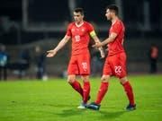 Bei den Schweizern lief gegen Katar nichts zusammen. Granit Xhaka (Nummer 10) und Fabian Schär sind ratlos (Bild: KEYSTONE/ENNIO LEANZA)