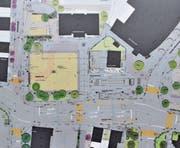 Der Platz wird gut 1000 m2 gross sein. Rechts von ihm liegen Weg, Gemeindehaus (oben) und die (nicht abgebildete) Schule praktisch auf einer Linie, der Bus erhält eine moderne Haltestelle. (Bild: pd)