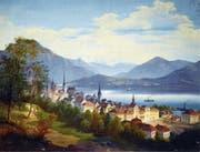 So sah der Maler Johann (Friedrich) Wilhelm Jankowski in den 1860er-Jahren die Stadt Zug. Unten rechts hat er sein Gemälde mit F. W. Jankowski signiert. (Bild: Andreas Faessler)